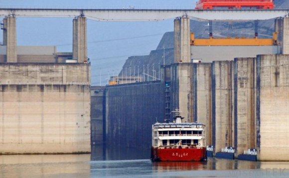 A ship going through a lock at