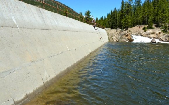 The diversion dam across the