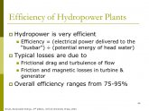 Efficiency of hydropower plants