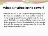 Hydroelectric power. advantages