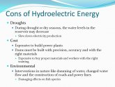 Hydroelectric Pros and cons